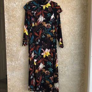 H&M 14 Long Floral Shoulder Ruffle Dress